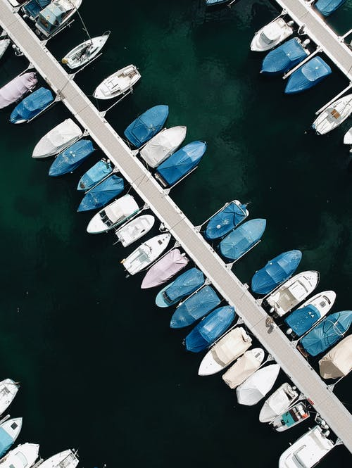 White and Blue Boats Aerial-view Photography