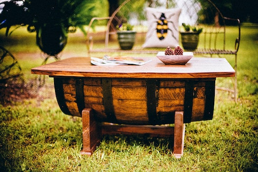 Free stock photo of wood, garden, grass, table
