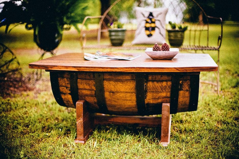 backyard, barrel, chair