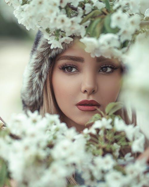 Безкоштовне стокове фото на тему «білі квіти, брюнетка, великий план, Гарний»