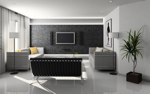 Flat Screen Monitor On Wall Near Sofa Set Pixabay Interior Design Of A House
