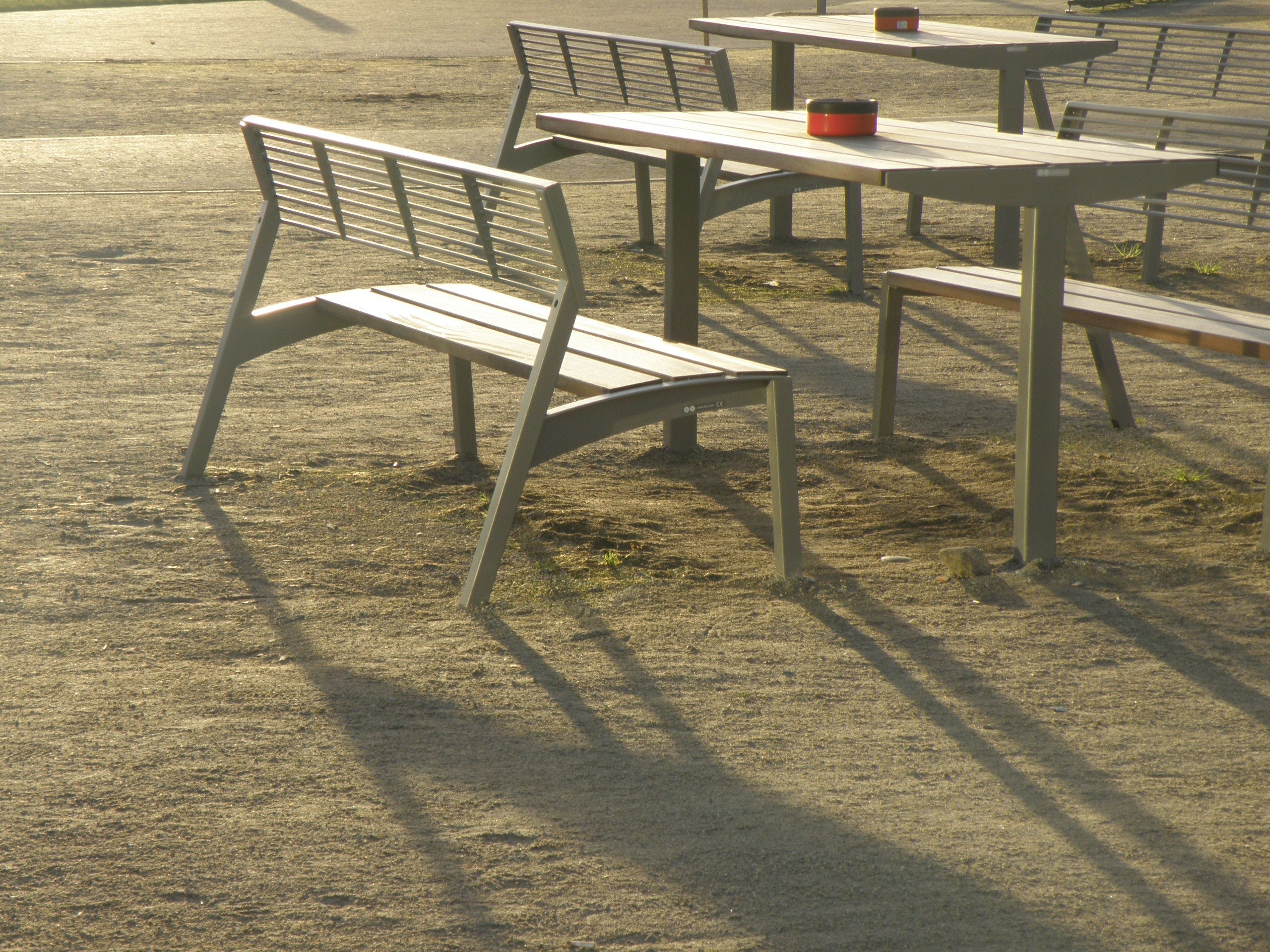 ashtray, bench, chairs