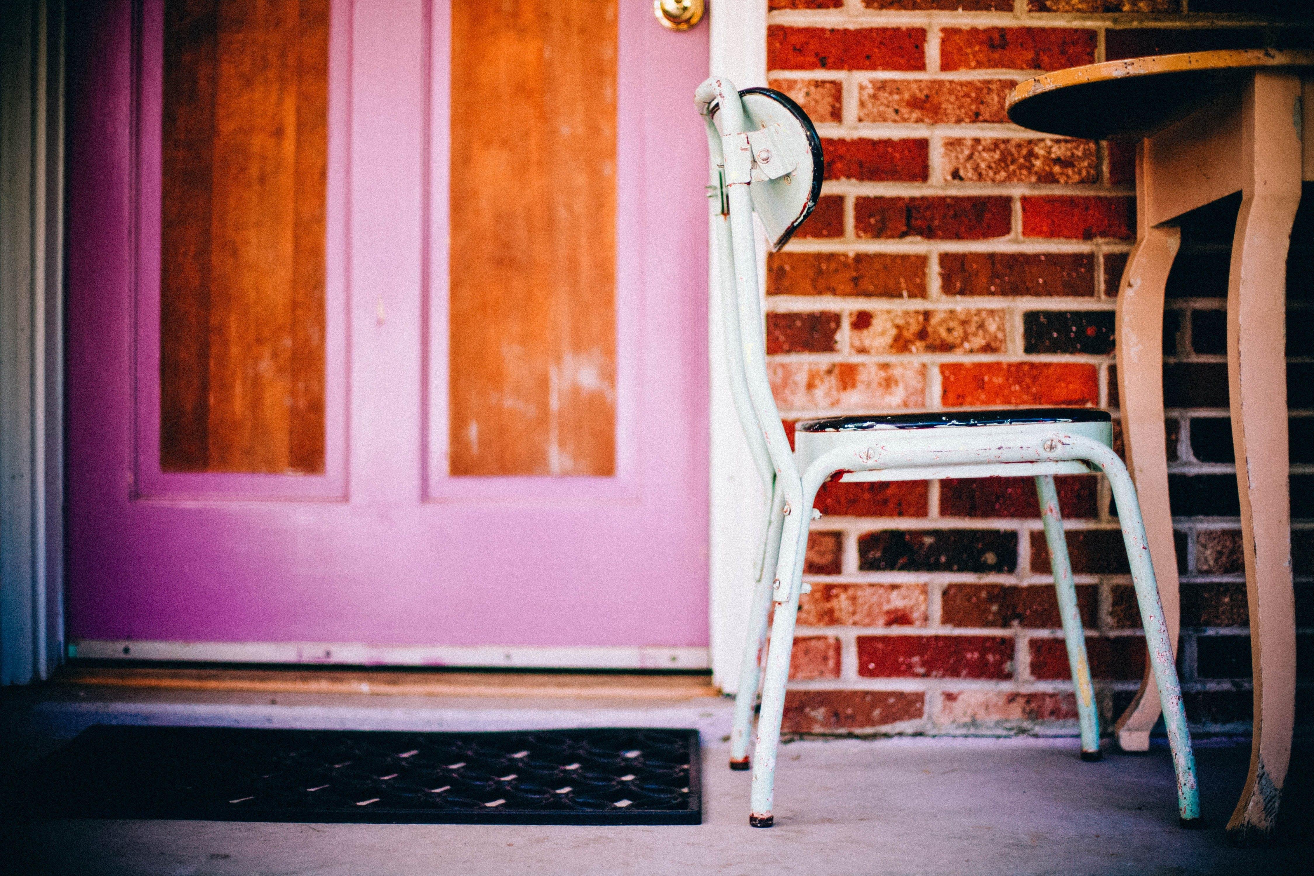 bricks, chair, door