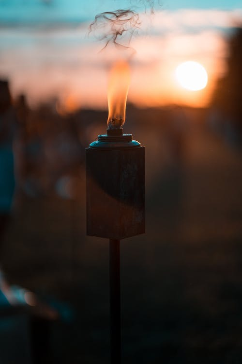 Free stock photo of Beautiful sunset, blue sky, fire, fire lantern