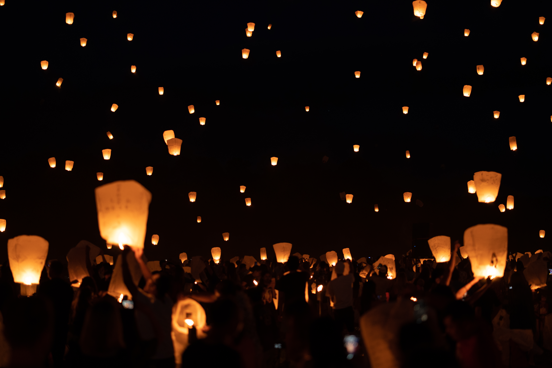 Flying Lanterns at Night