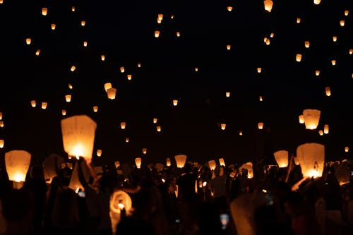Flying Lanterns at Night