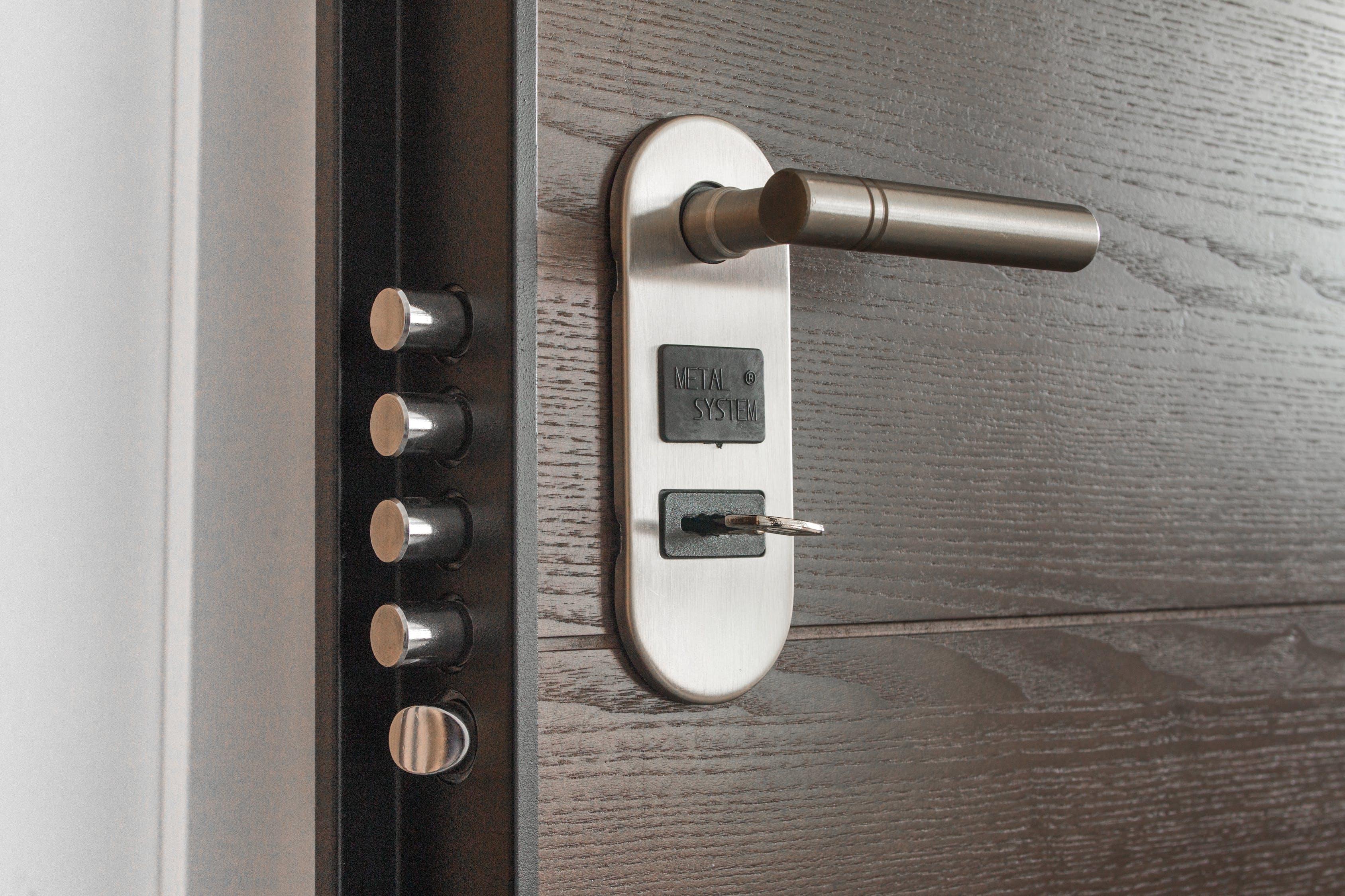 beveiliging, deur, draaiknop