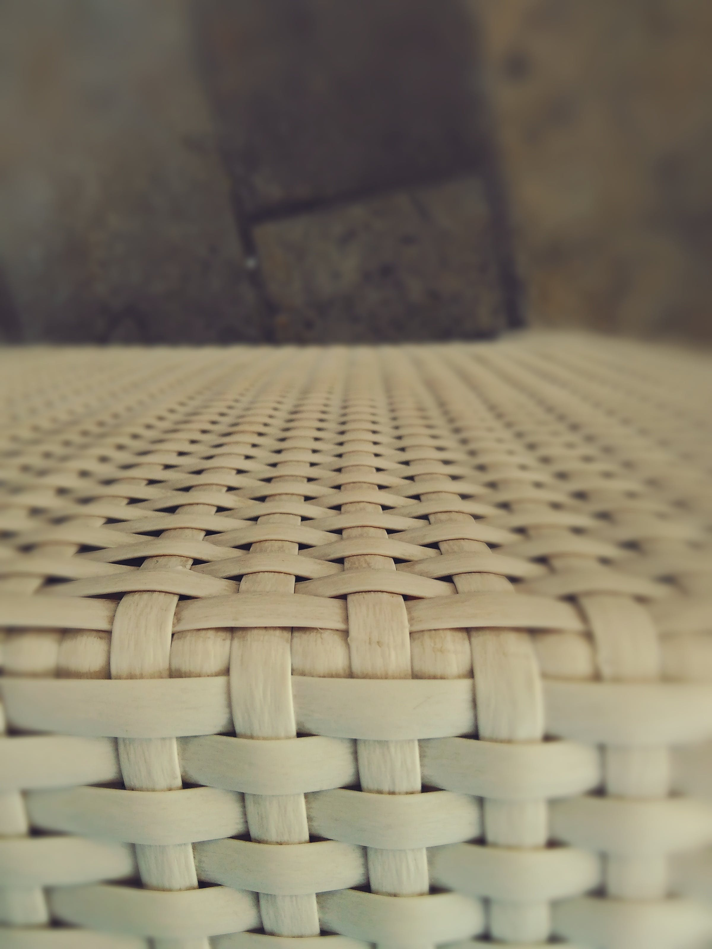 Beige Wicker Tabletop