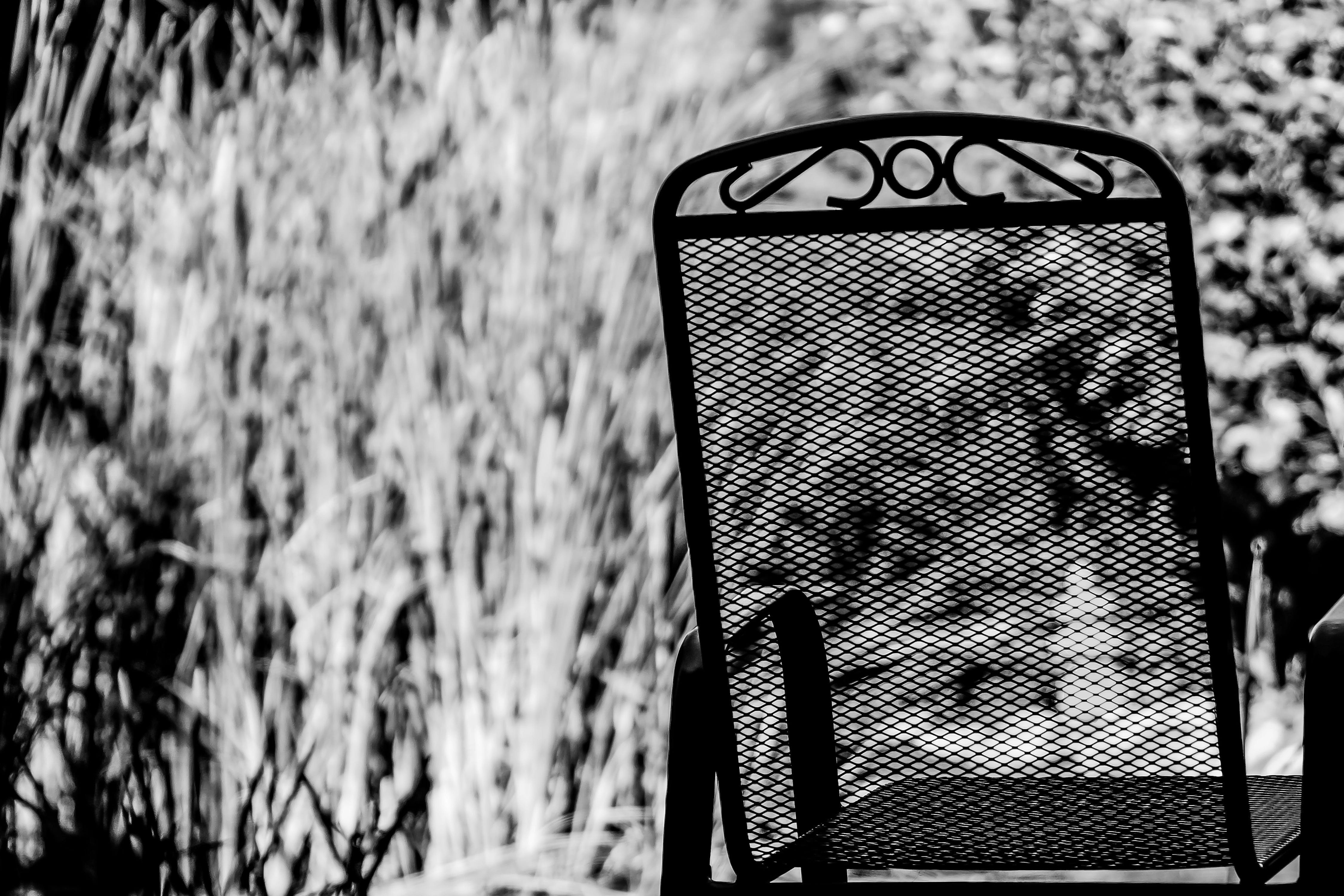 Grayscale of Steel Armchair