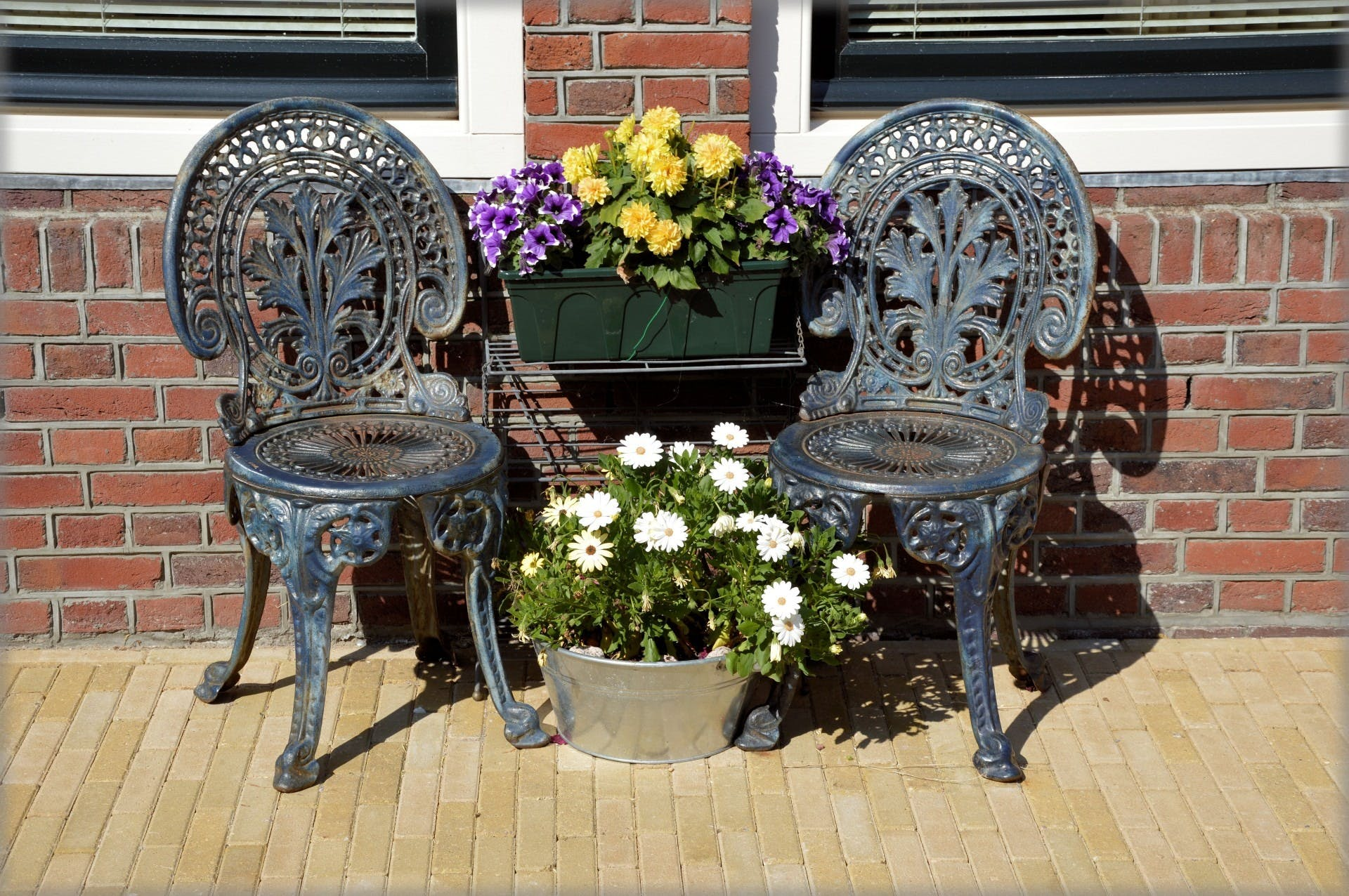 Free stock photo of chair, decoration, flower pot, flowers