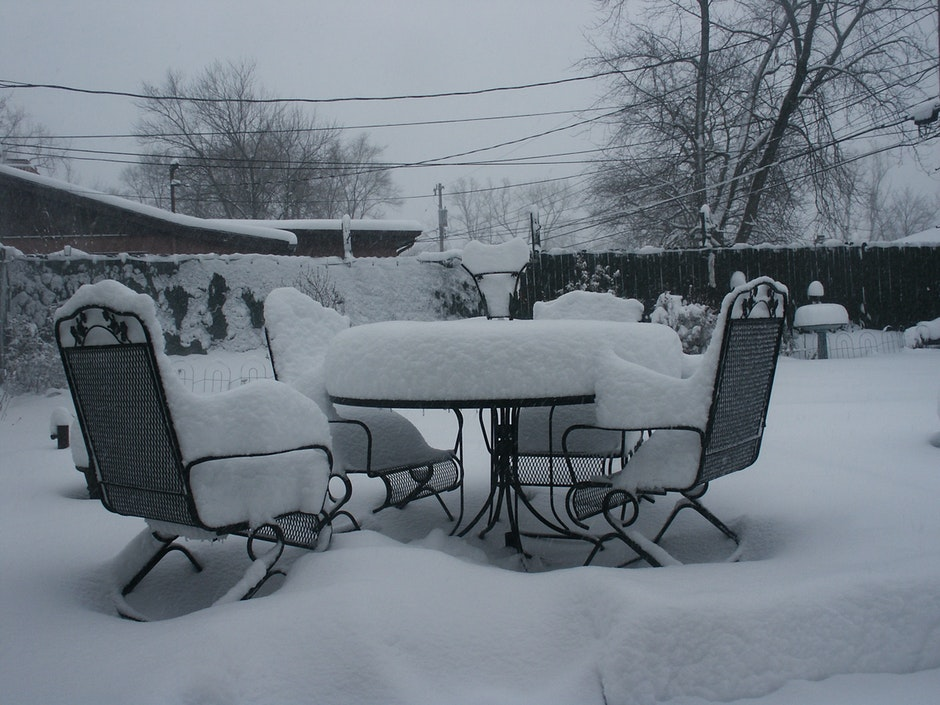 bench, chairs, cold