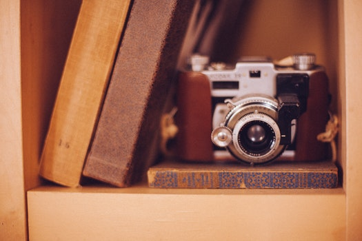 Free stock photo of camera, books, photography, vintage