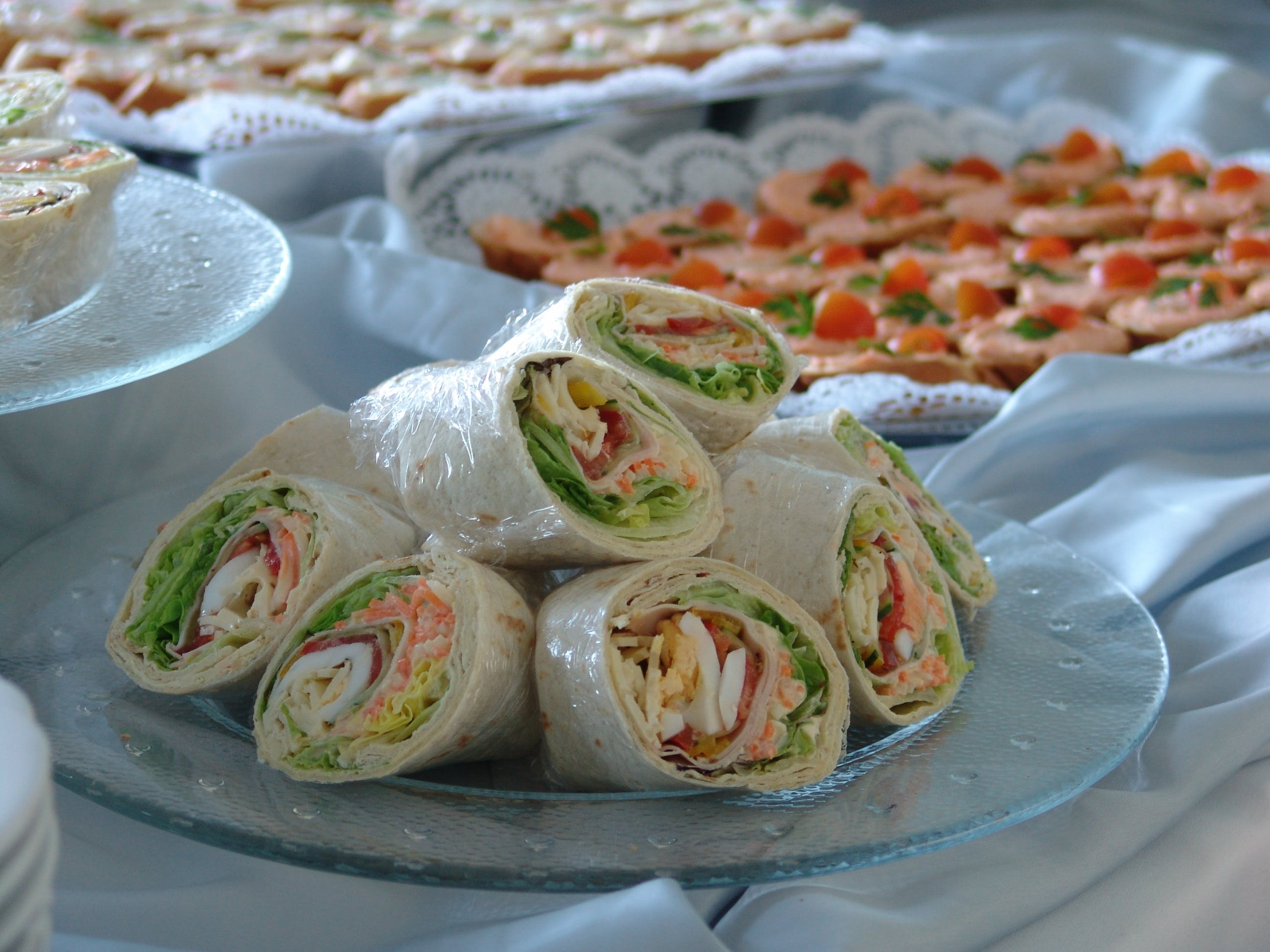 Spring Rolls on Glass Plate