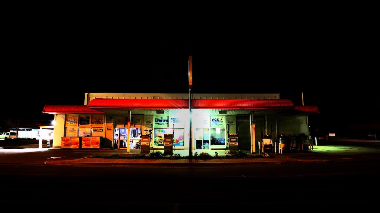 dark, gas station, lights