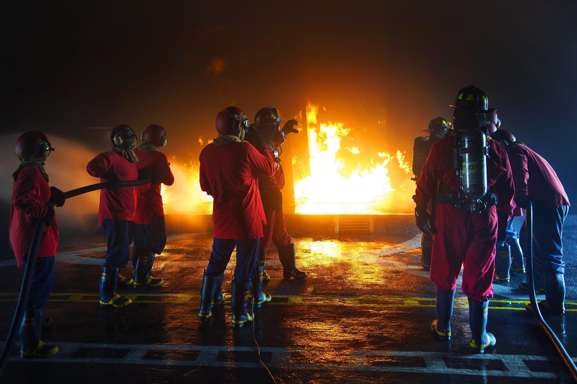 Free stock photo of night, fire, hose, training