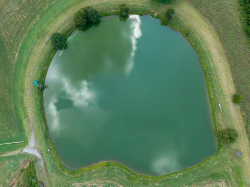 Bird's Eye View Of Pond During Daytime