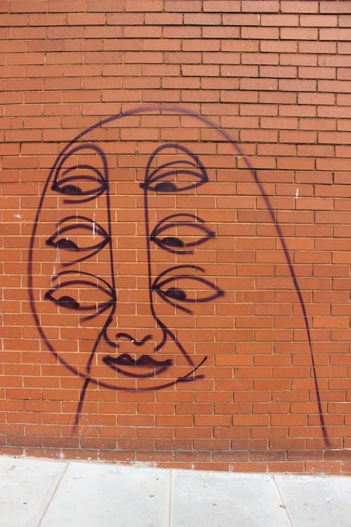 คลังภาพถ่ายฟรี ของ กราฟฟิตี, กำแพงอิฐ, อิฐ