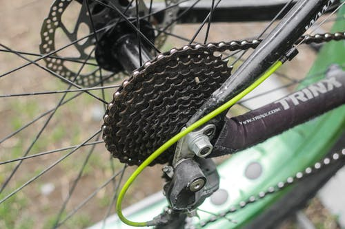 Close Up of Chain on Bicycle Wheel