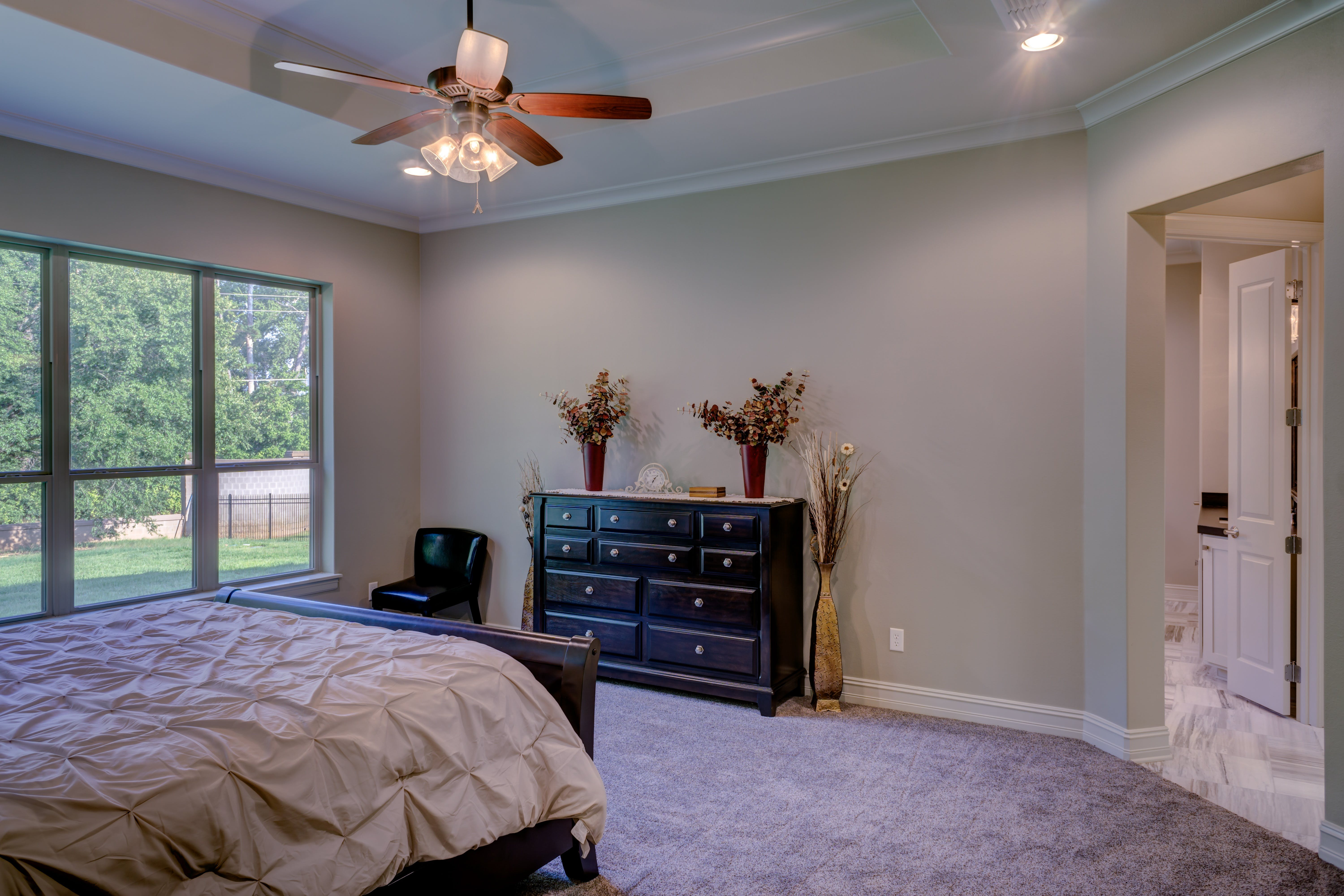 Bed Comforter Under the Ceiling Fan