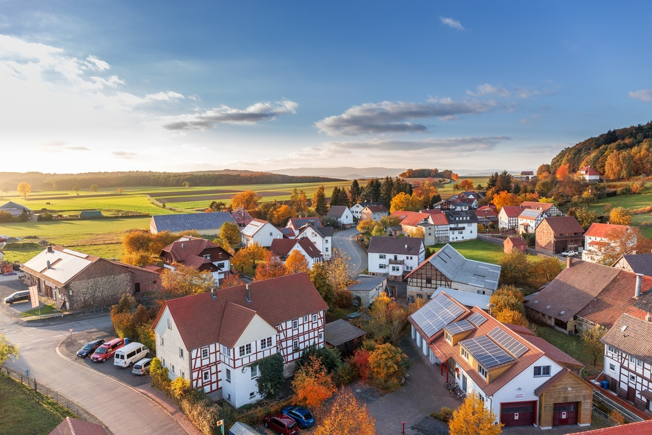 aerial view, architecture, autumn