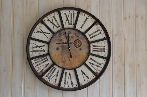 Black and White Wooden Analog Wall Clock
