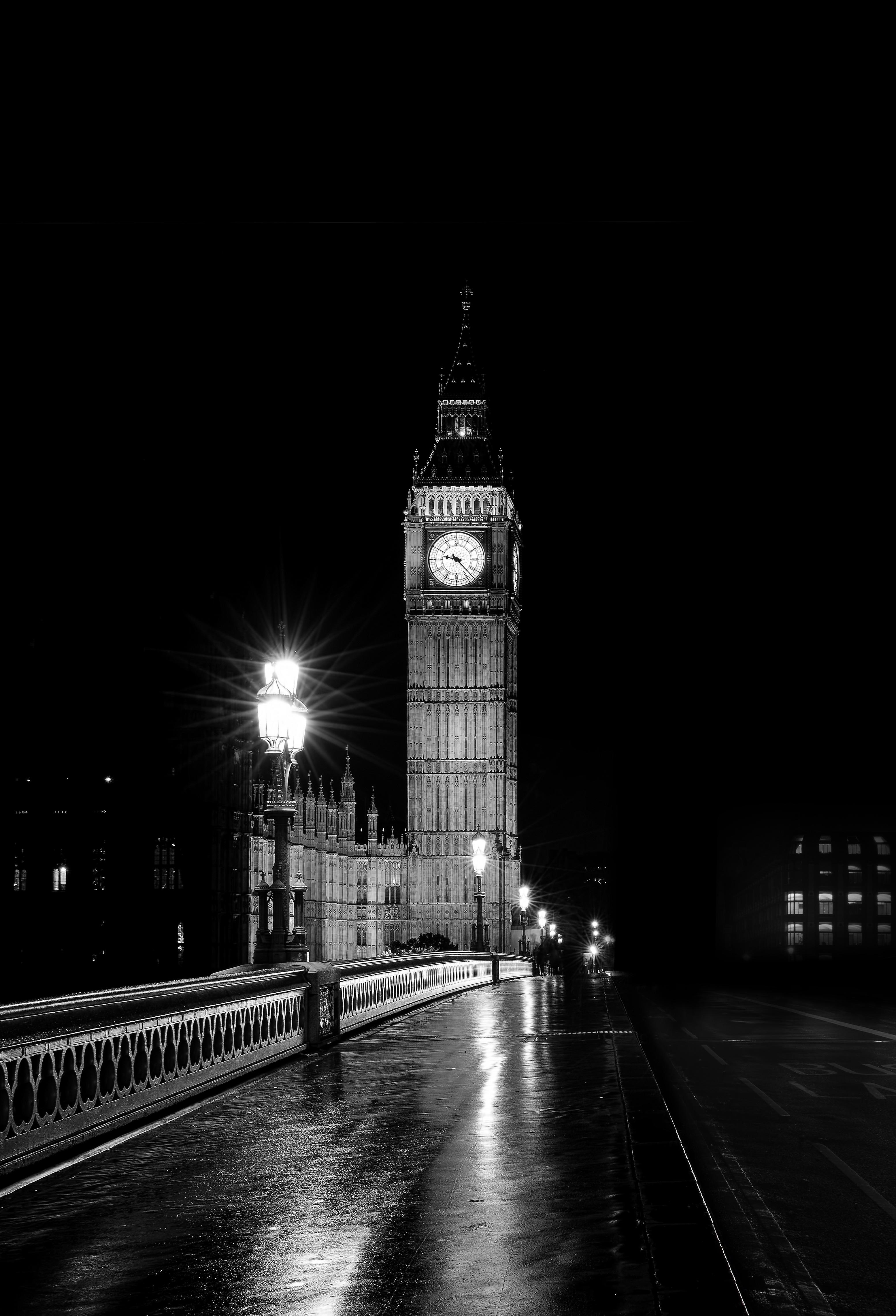 architecture big ben black and white bridge