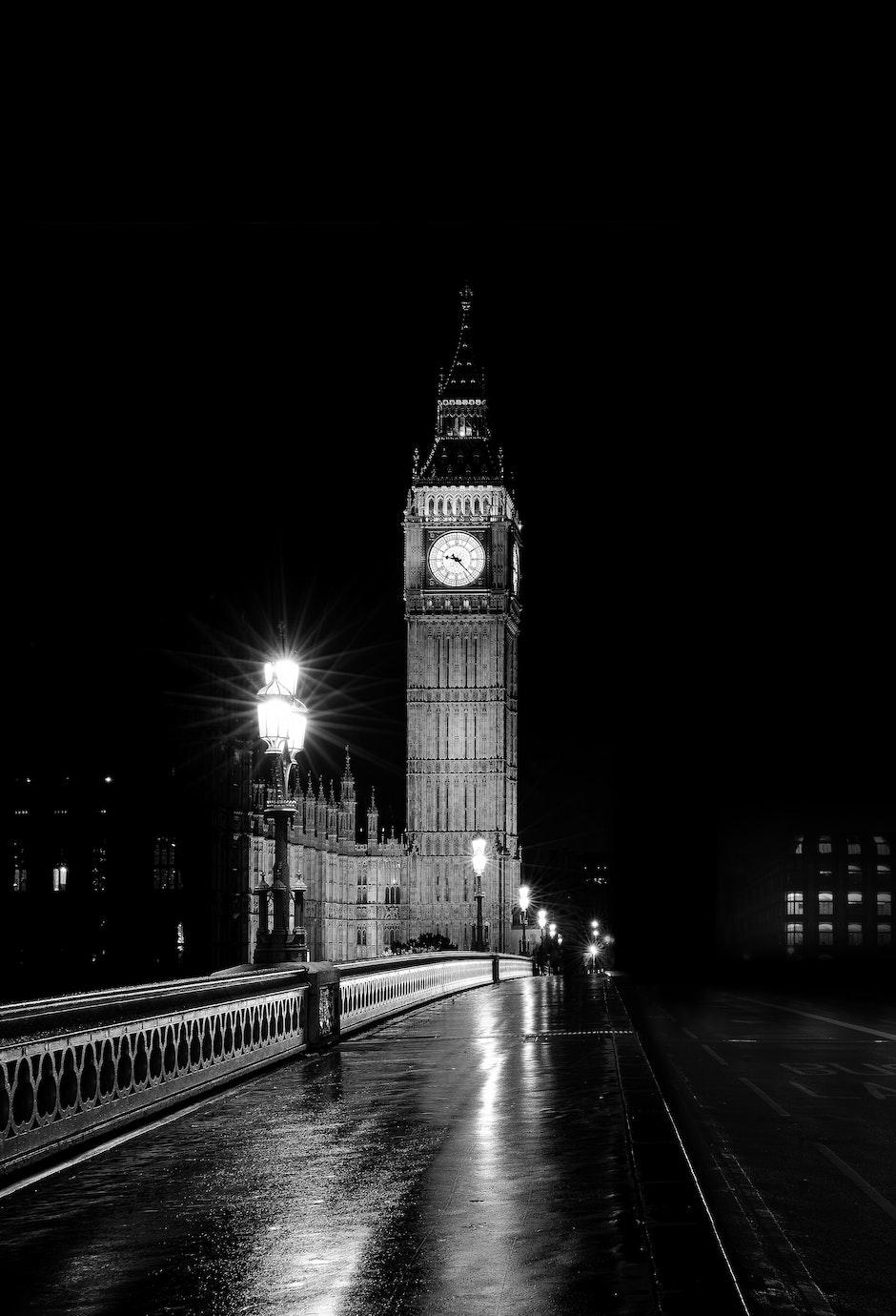 architecture, big ben, black and-white
