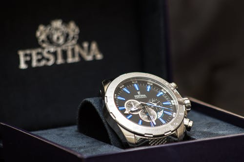 Round Silver-colored Festina Chronograph Watch With Link Bracelet