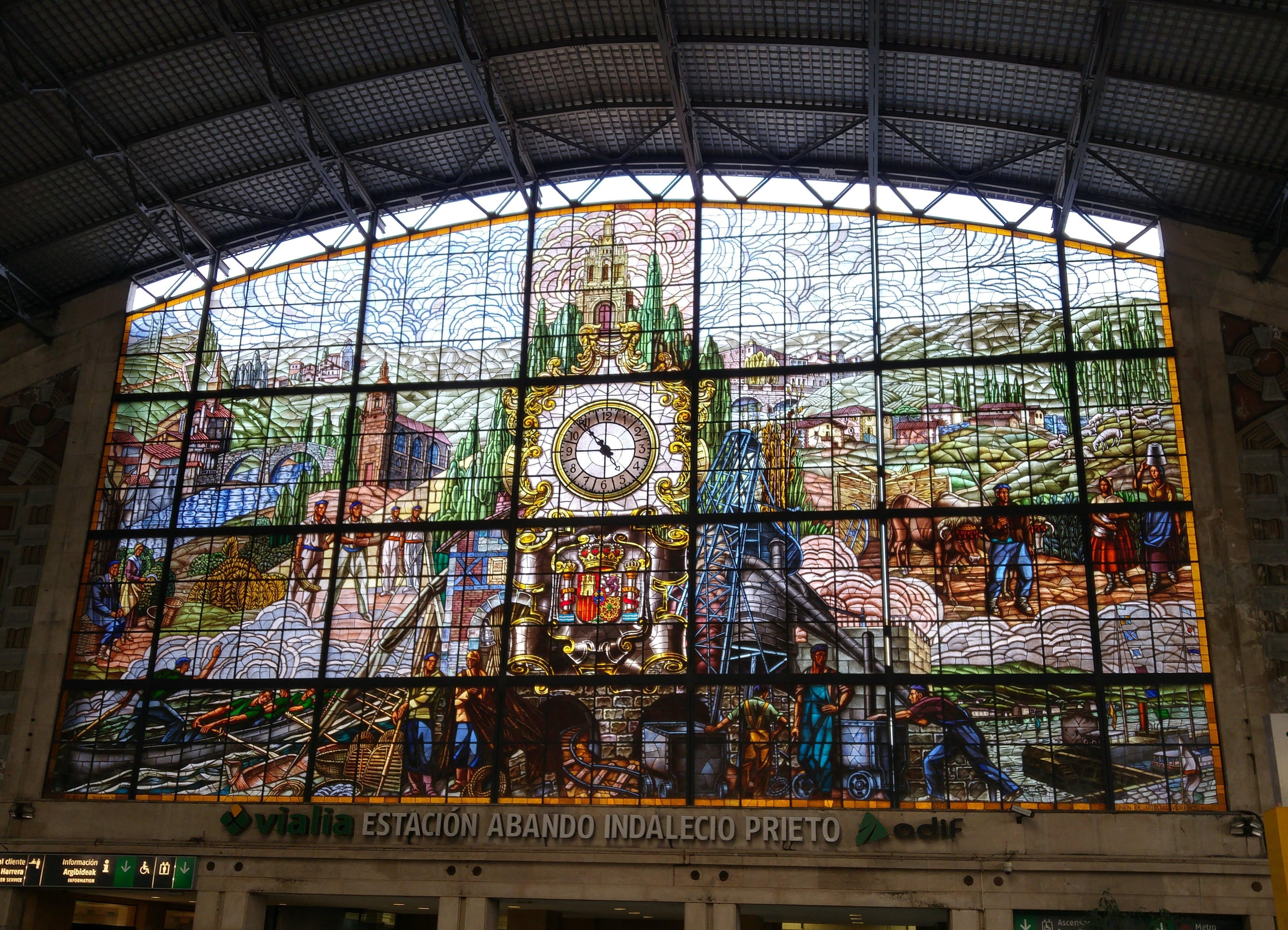 Free stock photo of bilbao, clock, facade, opaque glass window