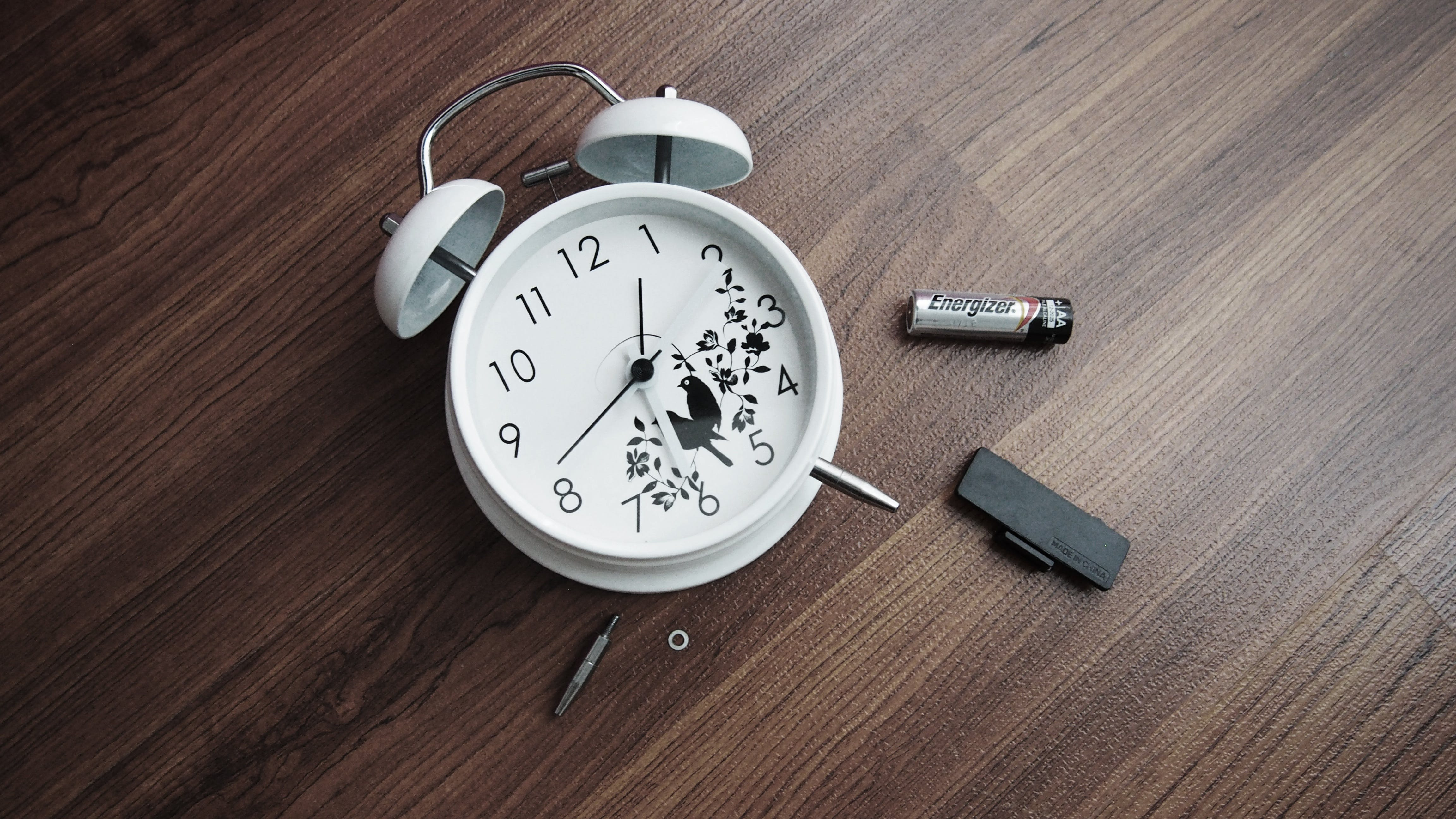 alarm clock, battery, clock