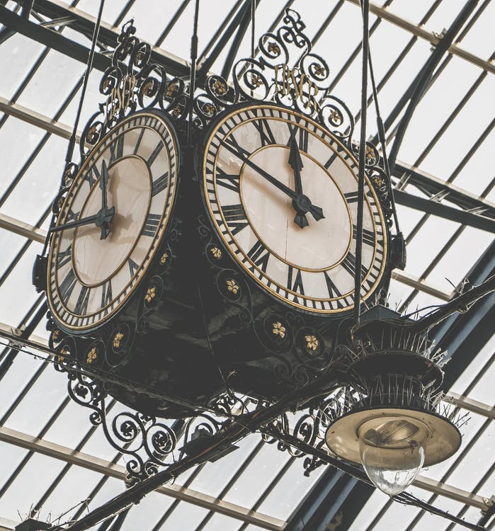 hengende, retro, tid