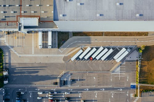 Free stock photo of aerial view, container truck, depot, distribute
