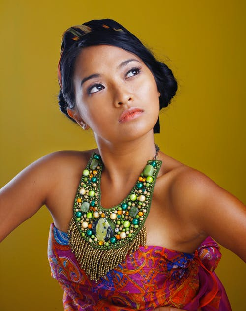 Portrait Photography Of Woman Wearing Bib Necklace