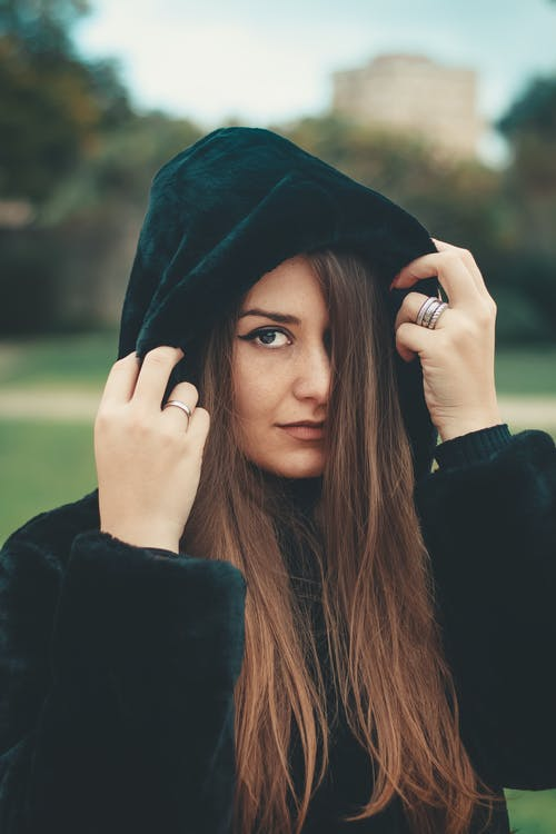 Woman Wearing Black Hooded Jacket