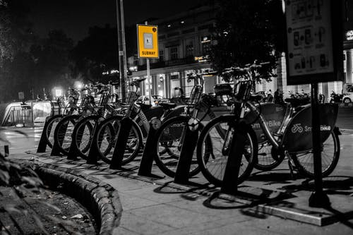 Free stock photo of bicycle, bicycle parking, bicycles, black and white