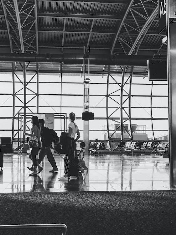 flyplass, reise, svart-hvitt