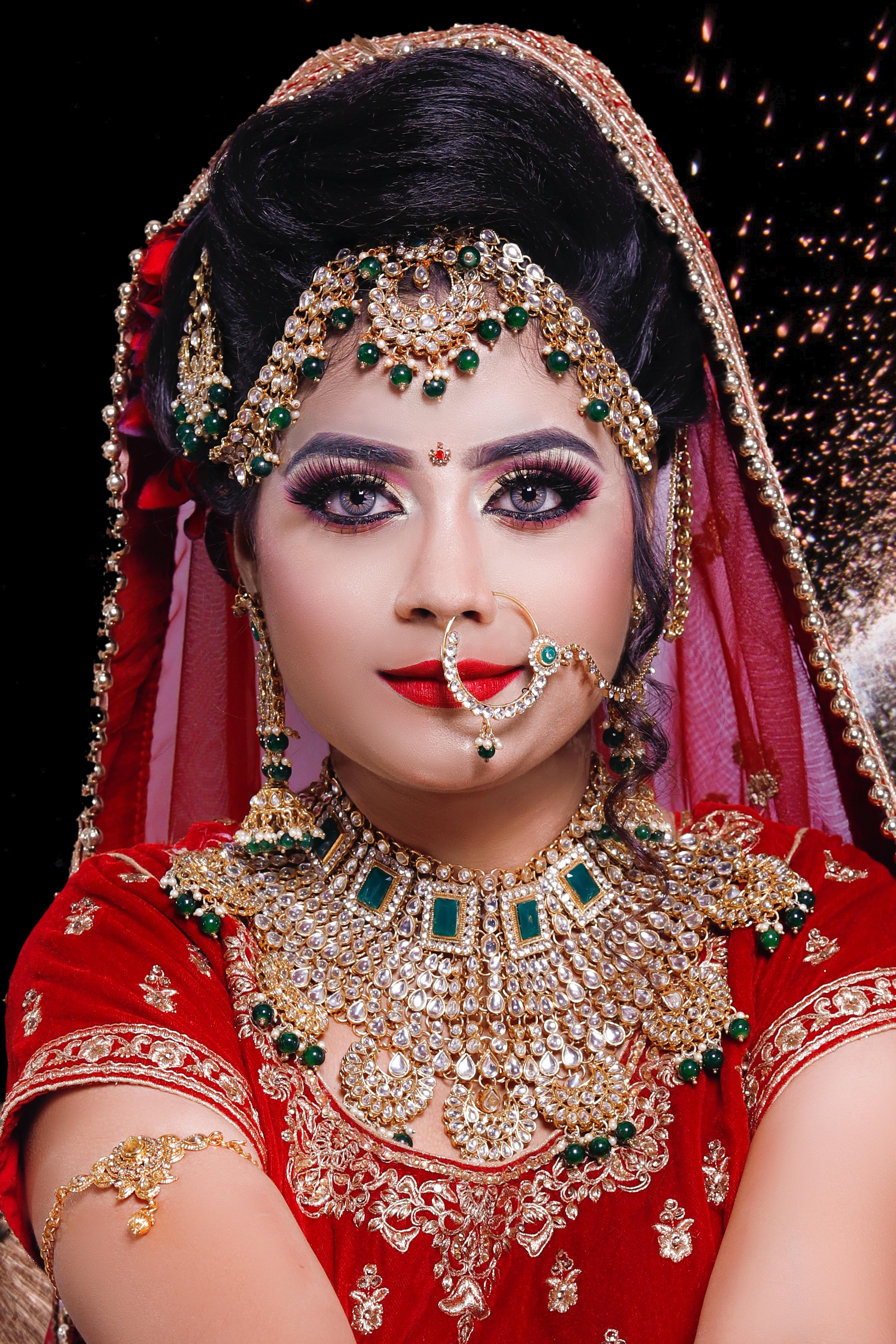 free stock photo of bride, eye makeup, indian bridal