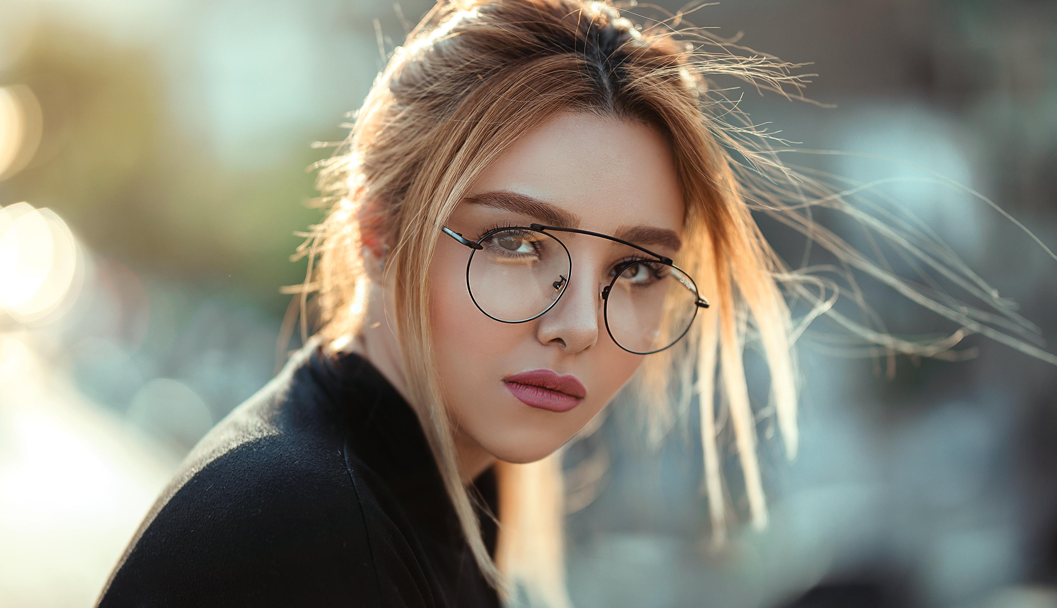 Woman in Black-framed Eyeglasses