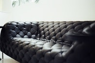 black, couch, furniture