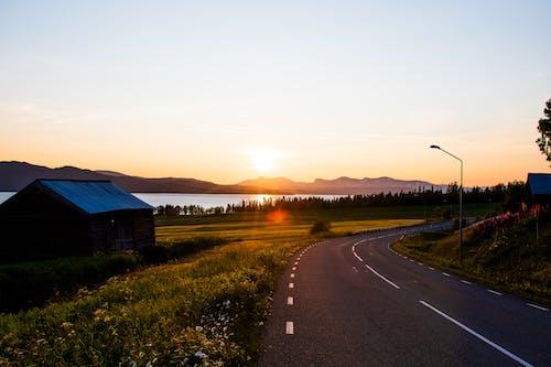 คลังภาพถ่ายฟรี ของ ชนบท, ดวงอาทิตย์, ตะวันลับฟ้า, ถนน