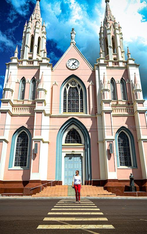 Free stock photo of beautiful woman, blue sky, christian, church