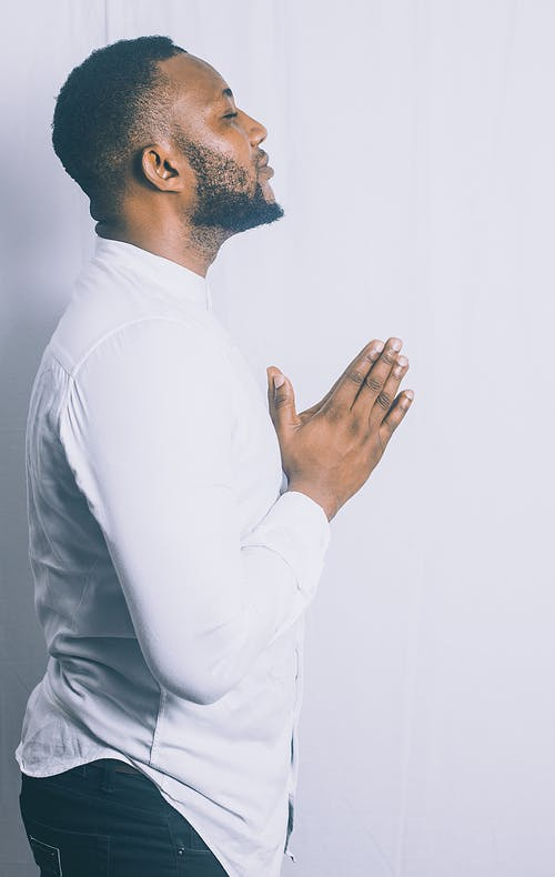 Free stock photo of guy in white praying, inspiration, portrait