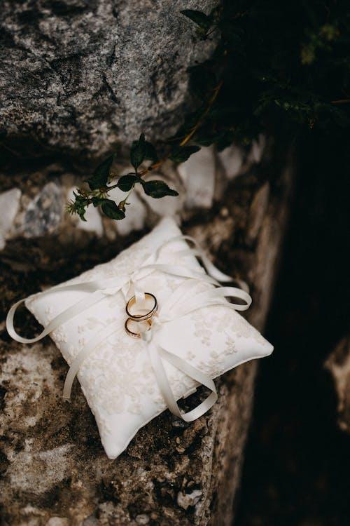 Ilmainen kuvapankkikuva tunnisteilla silkkinen kangas, sormukset, tyyny, valkoinen kangas