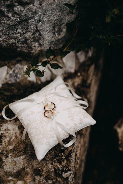 Zwei Goldene Ringe Auf Einem Seidenkissen