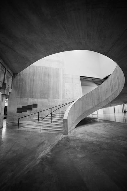 Grey stairs in a building