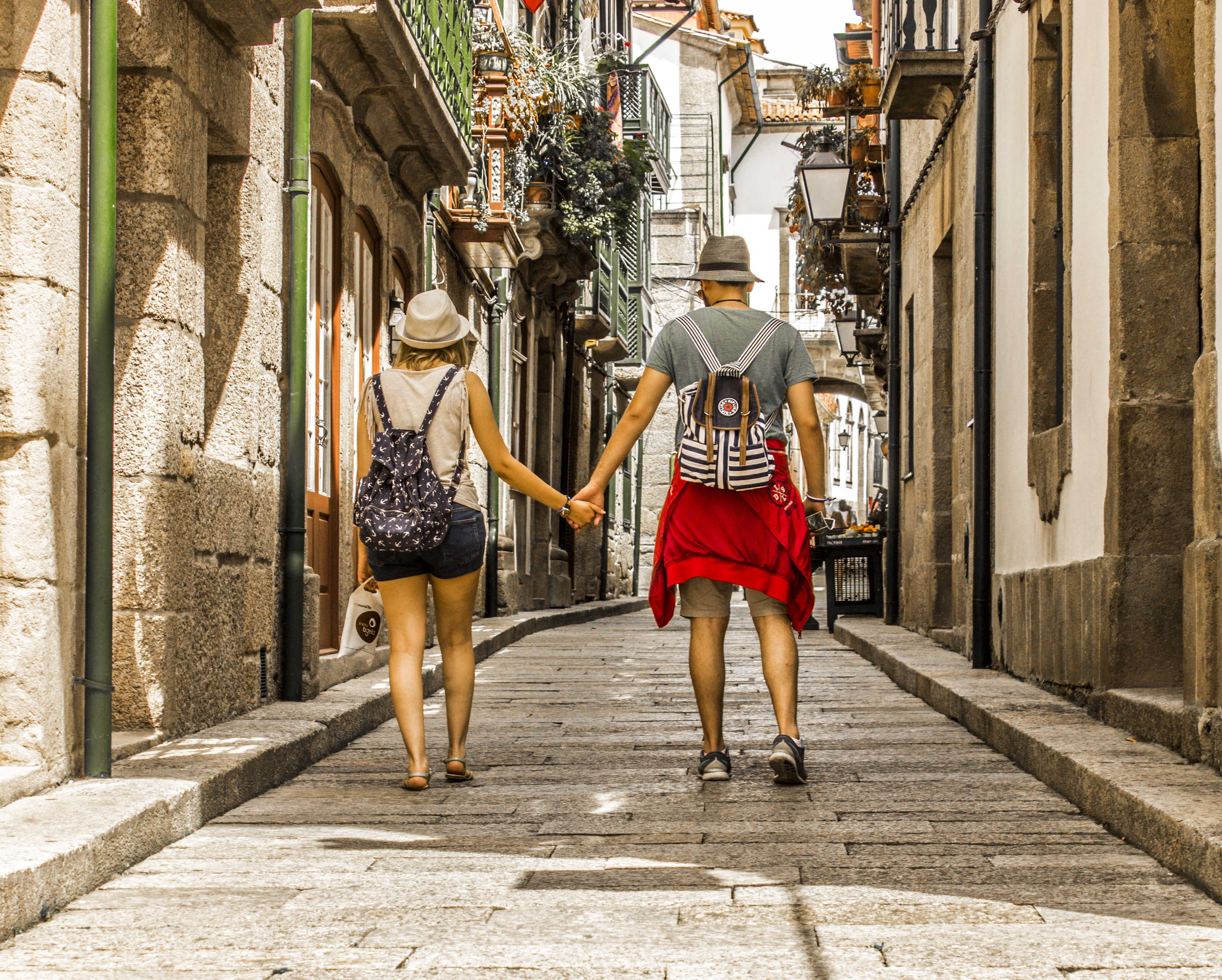 Free stock photo of architecture, couple, couple walking, love