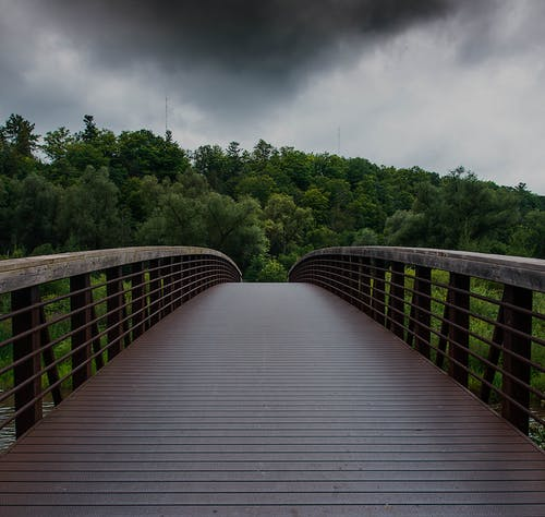 Free stock photo of bridge, cloudy, creek, forest