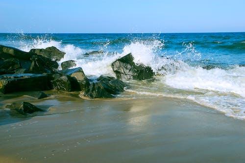 Free stock photo of beach, rocks, seafoam, water