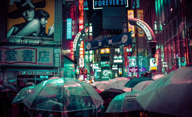 下雨, 人, 商店