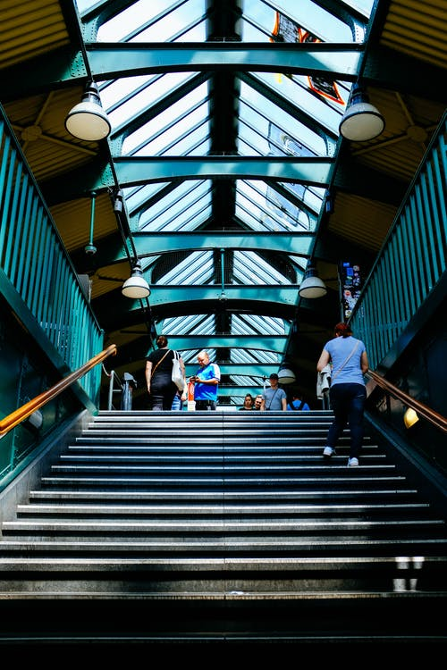 Person Walking on Stairs